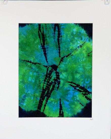 Green-blue swirl kumo shibori wall art