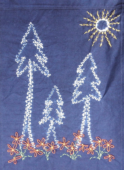 Shibori sugar pines and embroidered flowers wall hanging