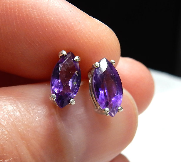 main view dark purple amethyst in sterling silver ear studs