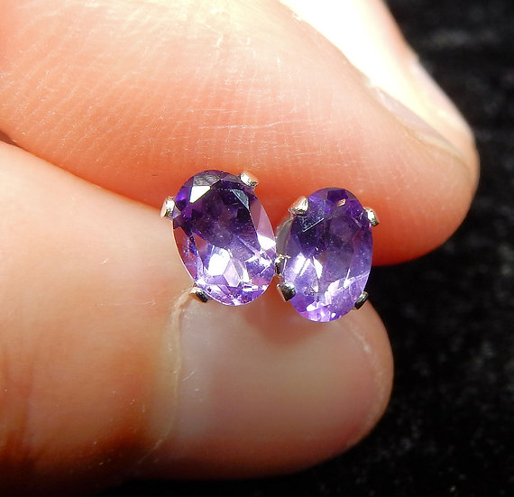 main image oval amethyst in sterling silver ear stud posts