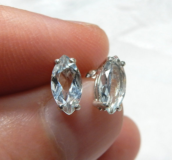 main image marquise aquamarine in sterling silver ear studs
