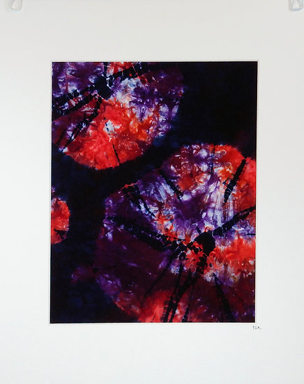 red and purple kumo shibori main view
