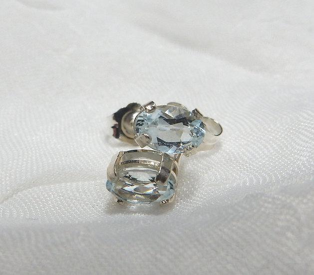 pale blue aquamarine in basket sterling silver settings