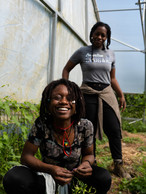 Chrintina (left) & Yemisi (right) are volunteers at D-Town Farm spreading peace and pure joy, Detroit, 2019.