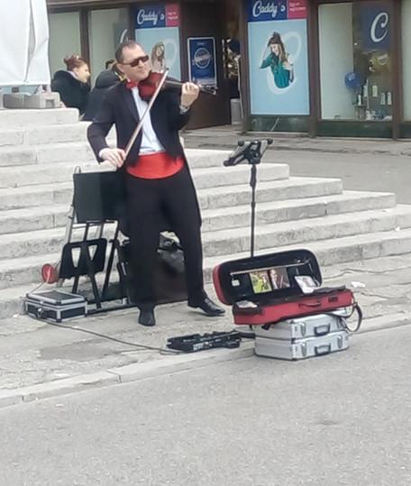 Violinist at bridge