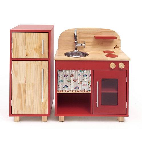 Kit Mini Cozinha  Vermelha + Geladeira Vermelha