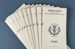 Тираж меню из дизайнерской бумаги