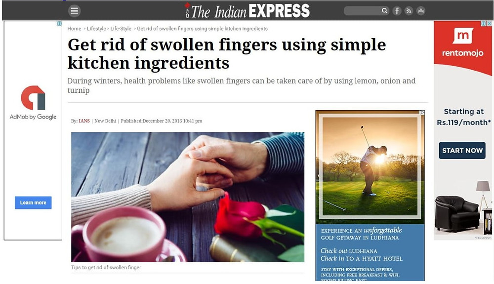 Get rid of swollen fingers using simple kitchen ingredients