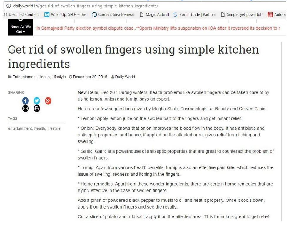 Get rid of swollen figures using simple kitchen ingredients