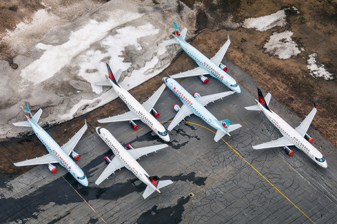 Several Sky Regional Embraer E175 jets stored in northern Ontario due to lack of demand during COVID-19. Captued from a Piper Cherokee PA-28 on March 25, 2020.