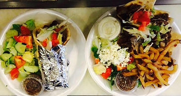 Gyro Combo w/ House Salad (LEFT) & Gyro Plate (RIGHT)