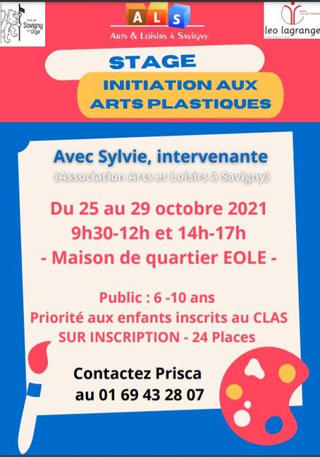 STAGE INITIATION AUX ARTS PLASTIQUES - DU 25 AU 29 OCTOBRE  A SAVIGNY SUR ORGE