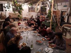 Christmas dinner in the workshop