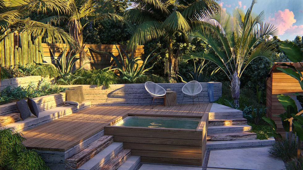Hot tub Landscape Design