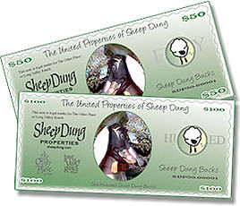 Sheep Dung pet friendly accommodations gift certificates