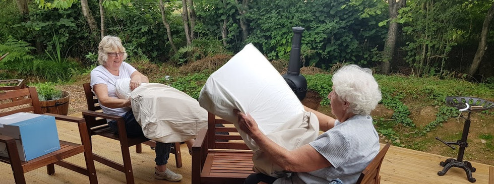 Carol & Liz getting to grips with the linen