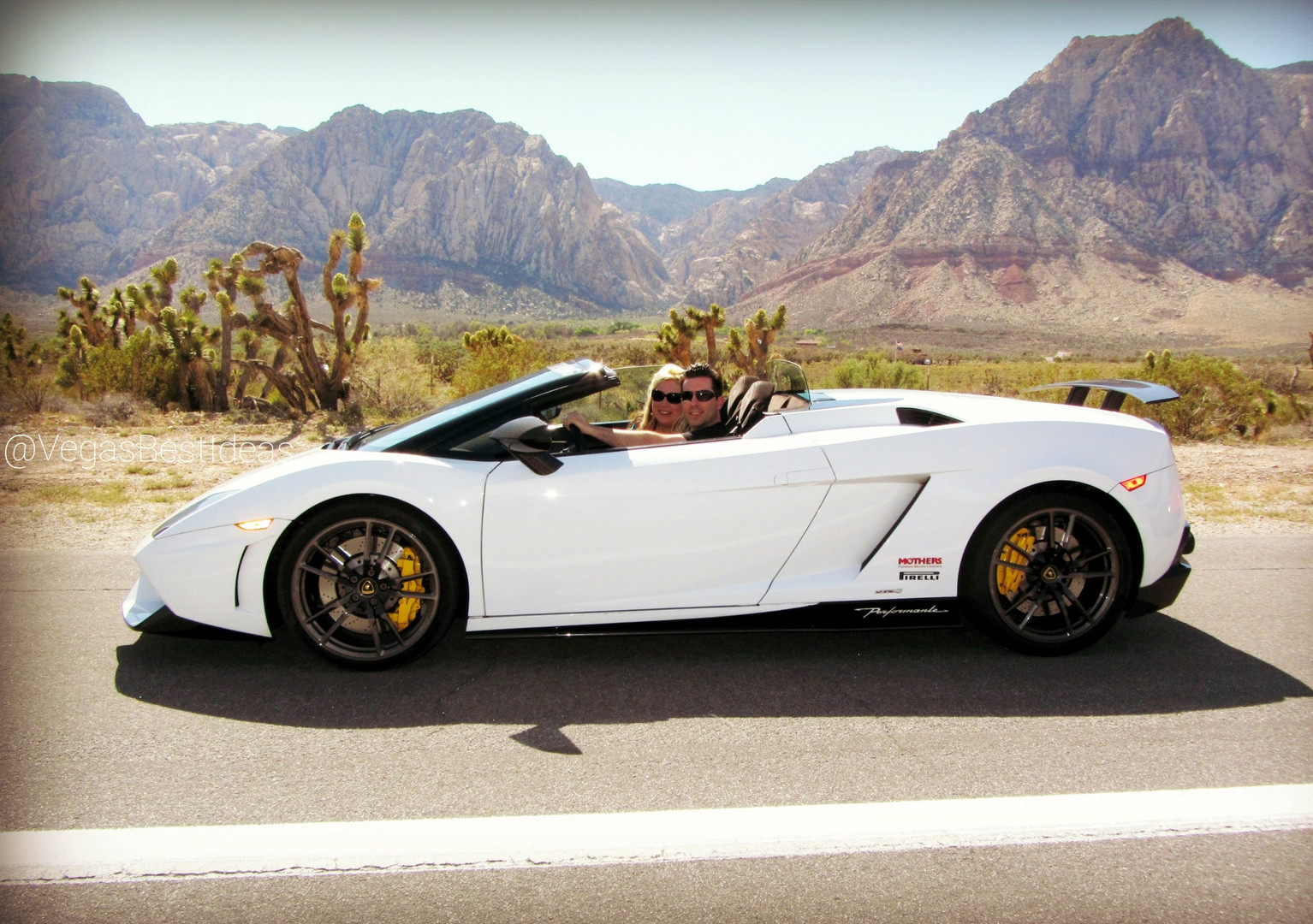 Vegas Couple Red Rock Lambo Convertible.