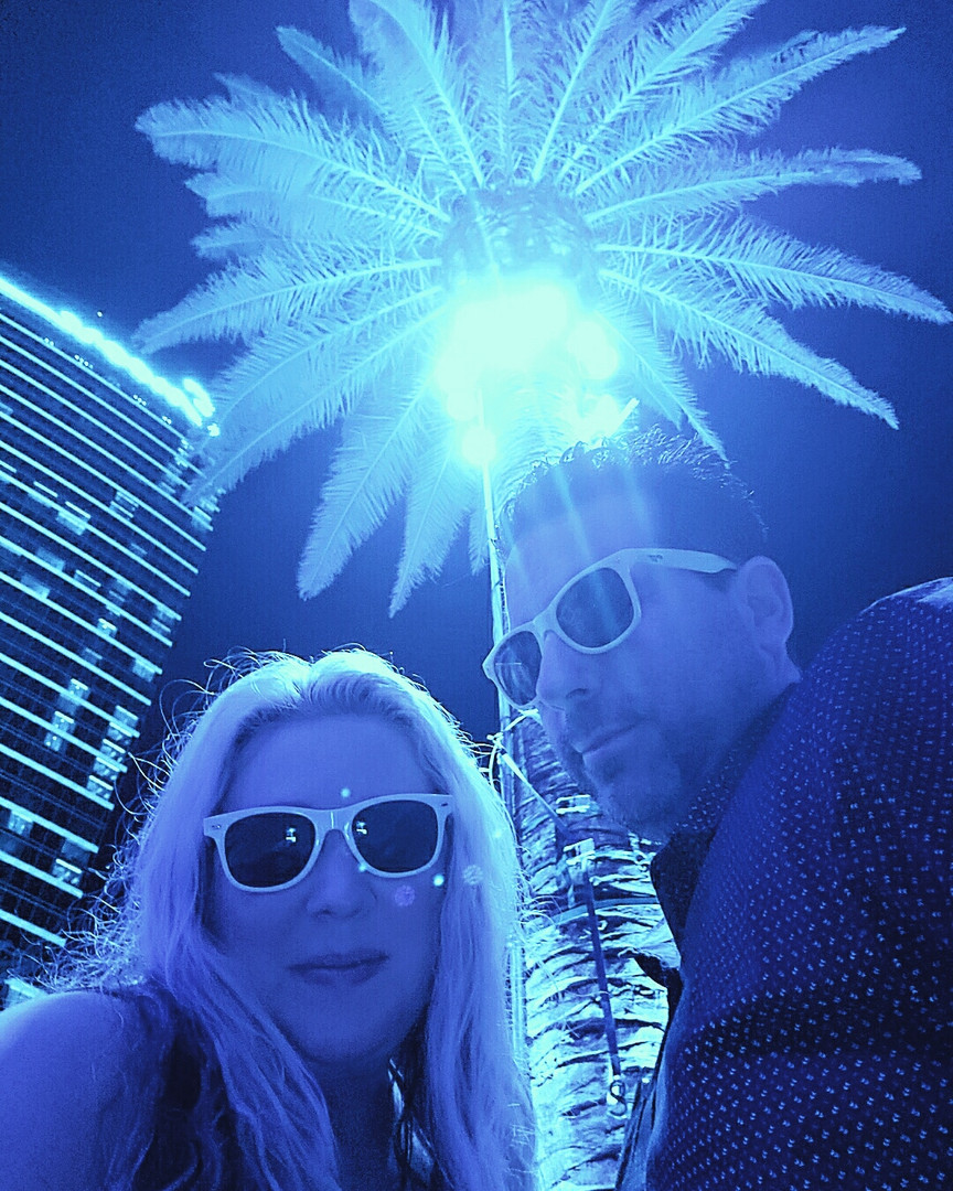 Vegas Couple Pool Party Blue Palm Trees.
