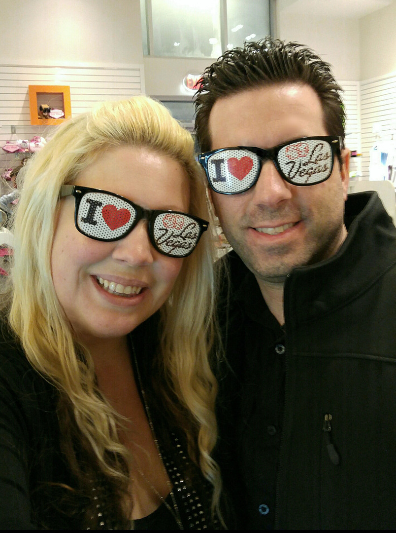 Las Vegas LV Glasses Vegas Couple Selfie