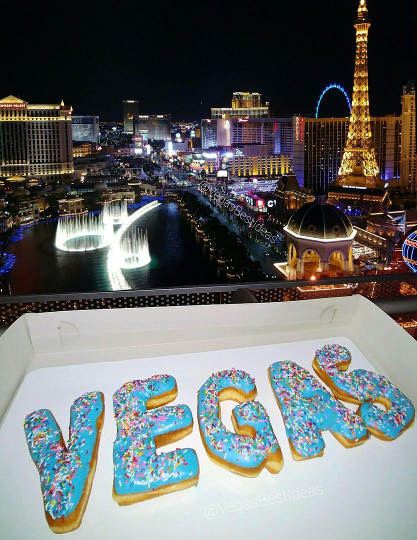 Vegas Pinkbox Donuts Bellagio Fountains.