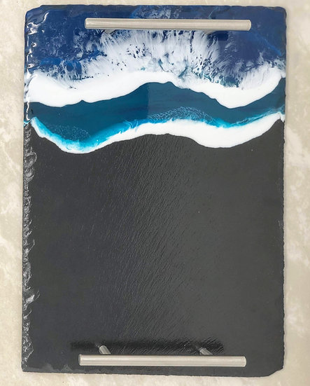 Slate Ocean Tray with Silver Handles