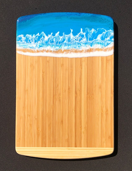 Large Bamboo and Cerulean Blue Resin Cheeseboard