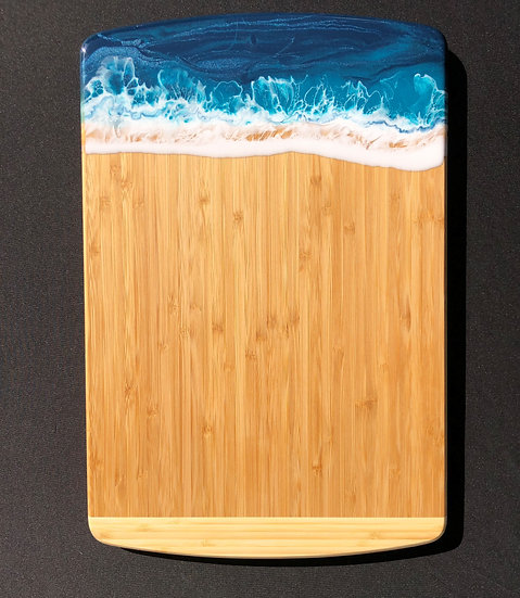 Large Bamboo and Turquoise Resin Cheeseboard