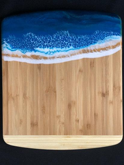 Denim Blue Bamboo and Ocean Resin Cheeseboard