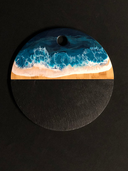 Round Slate and Bamboo and Ocean Resin Cheeseboard 1
