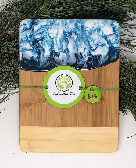 Personal bamboo and arctic marble resin cheeseboard