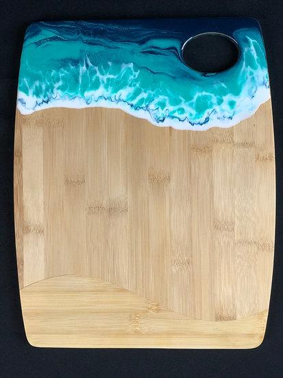 Medium Bamboo and Aqua Ocean Resin Cheeseboard 2