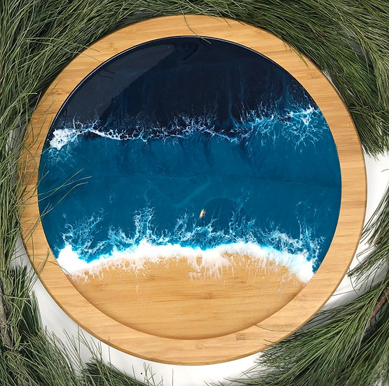 Ocean Lazy Susan medium with bamboo trim