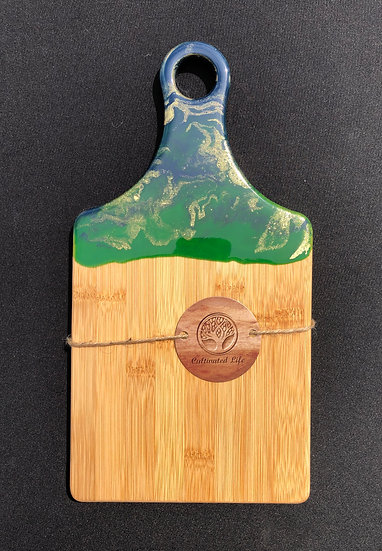 Small Bamboo and blue/gold/green Resin Cheeseboard 2