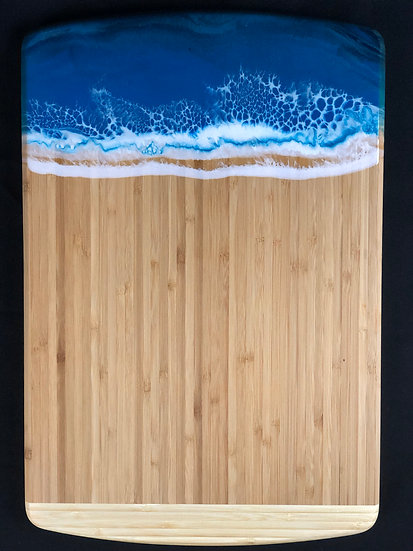 Large Cerulean Blue Bamboo and Resin Cheeseboard