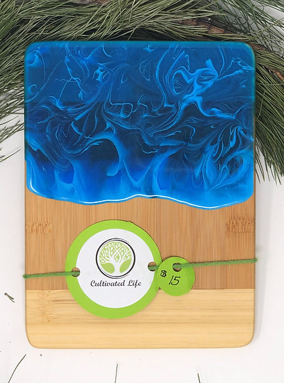 Personal bamboo and electric blue marble resin cheeseboard