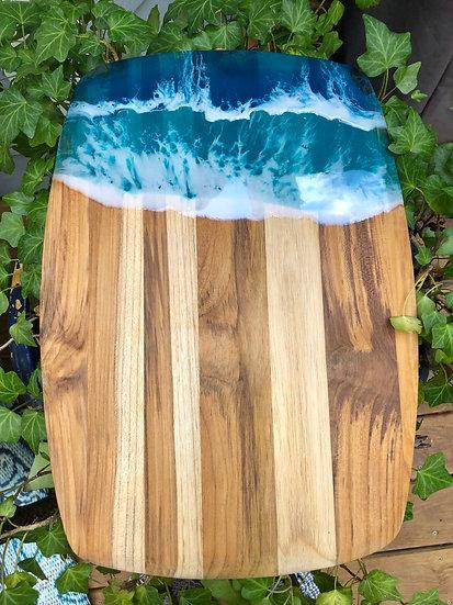 Medium Teak Wood and Resin Cheeseboard