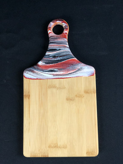 Rustic Red and Black Bamboo Resin Cheeseboard