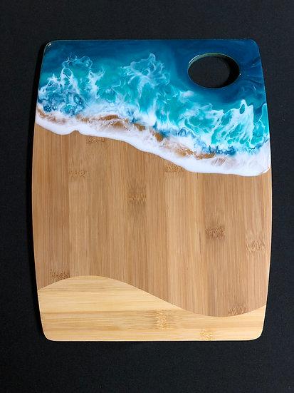 Medium Bamboo and Sea Foam Green Ocean Resin Cheeseboard 2