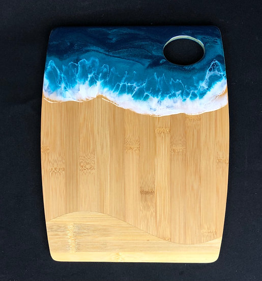 Medium Bamboo and Turquoise Ocean Resin Cheeseboard