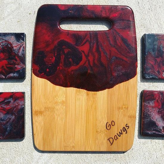 UGA Bamboo and resin cheeseboard and coasters