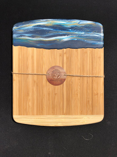 Medium Bamboo and Blue/White/Gold Stripes Resin Cheeseboard