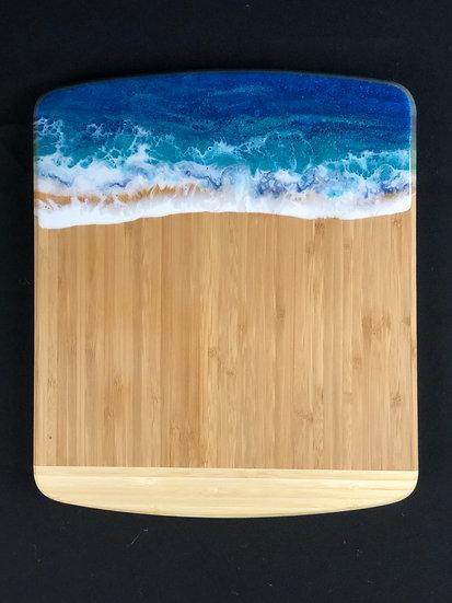 Medium Sea Turquoise Bamboo and Ocean Resin Cheeseboard