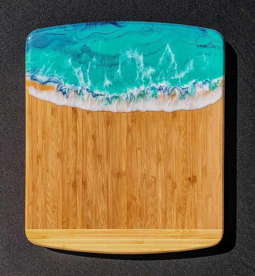 Medium Bamboo and Aqua Ocean Resin Cheeseboard