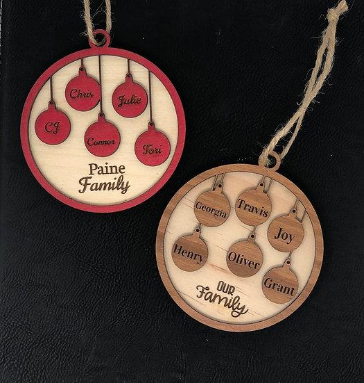 Single Side Family Ornament 2020