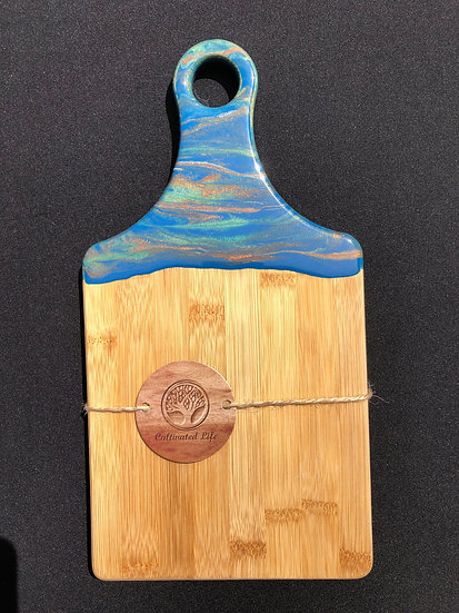 Small Bamboo and blue/copper/green Resin Cheeseboard