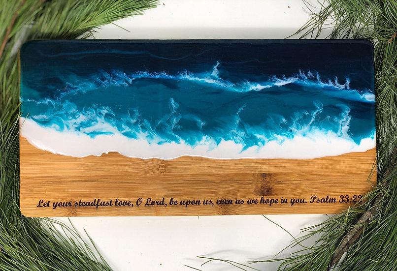 Steadfast bamboo and ocean resin cheeseboard