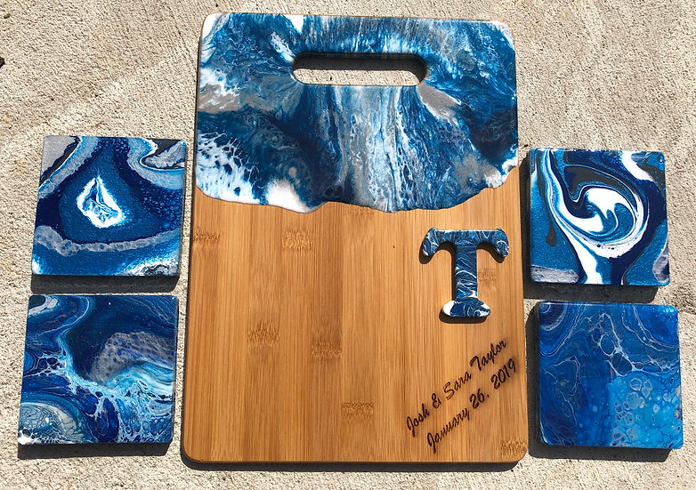 Bamboo and resin cheeseboard and coasters
