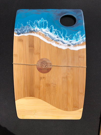 Large Bamboo and Turquoise Ocean Resin Cheeseboard