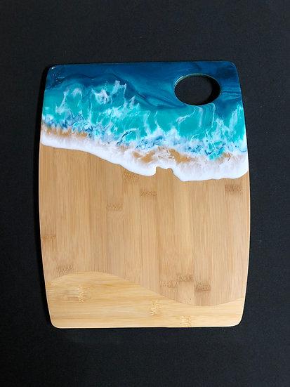 Medium Bamboo and Sea Foam Green Ocean Resin Cheeseboard 3