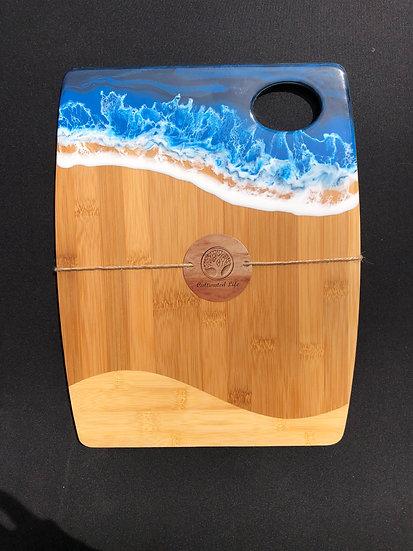 Medium Bamboo and Blue Ocean Resin Cheeseboard 2